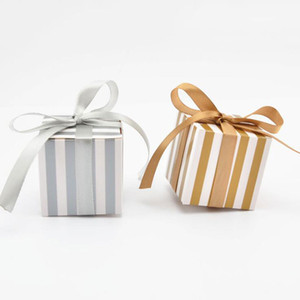 10pcs Gold Silver Stripes Candy Box With Ribbons For Wedding Party Favors And Gifts Bag For Guest Birthday Party Decoration