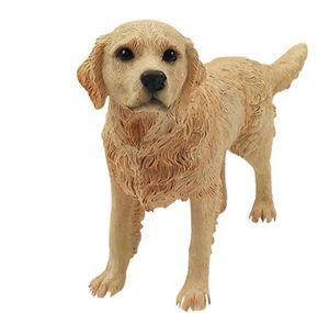 الذهبي المسترد الكلب التمثال تمثال الحيوان الراتنج الكلب الحلي عطلة اليدوية للديكور المنزل هدية عيد الميلاد