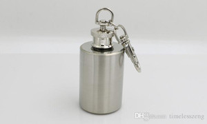 Мини Портативный Цилиндрическая Малый винный горшок бутылки с 1oz 304 из нержавеющей стали Flagon фляжку с брелок