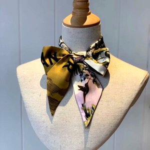 B01DI - bufanda BOLSA diseñador de la marca de interés, scraves de seda 4colors de las mujeres, 100% seda del grado superior diadema Can para los bolsos, tamaño 6 * 105 cm.