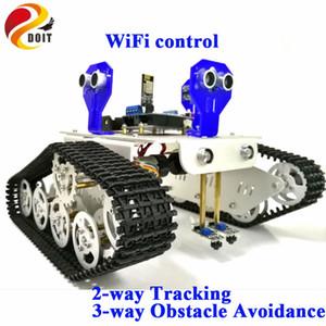 Wi-Fi Control 2-way Tracking 3-way Ультразвуковое предотвращение препятствий Cralwer Robot Tank Car Шасси для Arduino