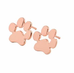 Designer creux boucles d'oreille d'impression amoureux des chiens de chat patte chiot boucle d'oreille en argent commémorative Minimaliste or mignon d'empreintes d'animaux boucle d'oreille plaqué