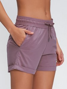 LU-62 New Spring Break Away Short Frauen Yoga Shorts Gewebte Beiläufiges Yoga Band Fitness Shorts Gym Sport Laufhose