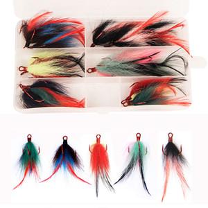 Рыбалка тройной крюк с пером 15 шт./коробка одета замена Рыбалка ВЧ крючки 2# Тизер перо щука бас