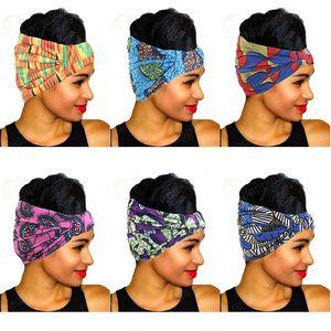 Imprimer africaine en coton extensible Bandeau élastique pour les femmes Couvre-chef Turban tête écharpe dames Bandage tête Wrap Accessoires cheveux
