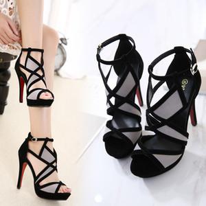 Sandali tacco alto donna estate fibbia cinturino tacco alto scarpe cinturino alla caviglia donna scava fuori fibbia sandalo taglia 34-42