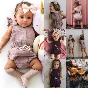 Летние дети шифон комбинезон листьев лотоса край рукав новорожденного сплошного цвета цельных одежд младенец малыш комбинезона малыши рюши одежды