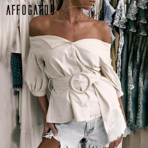 Affogatoo Seksi Kapalı Omuz Kanat Kadın Bluz Gömlek Vintage Fener Kollu Pamuk Bluz Kadın Casual Düğme Bayanlar Bluz 2019 J190613
