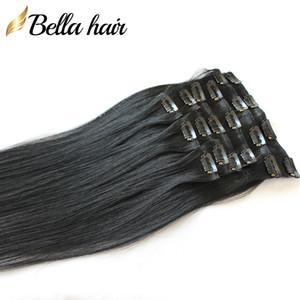 Rabatt modischer Clip in / auf Haar-Verlängerungen natürlichen gerade Europäischen Menschenhaar Weaves # 1 Farbe Virgin Haar 20inch 100g / set Bellahair