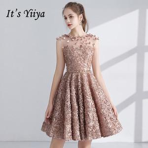 Es ist YiiYa Cocktailkleid 2018 Partei Appliques Blumen-Illusion Modedesigner elegante kurze Cocktailkleider LX1063