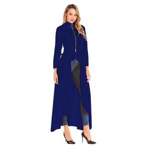 Collare del basamento del progettista Trench Moda Irregolarità primavera Zipper maniche lunghe cappotti nuova delle donne Abbigliamento casual