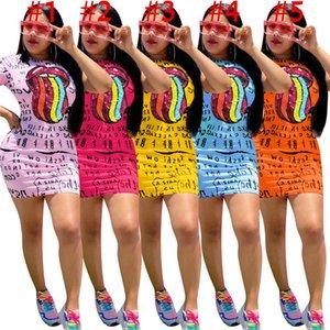 Été femme Lettres robe et les lèvres imprimer Robe sexy mini-jupe à la mode fendus Robes Casual manches courtes T-shirt robe Vêtements S-XXXL D61605