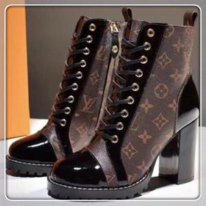 louis vuitton Lv 2020 New Leder Round Top Frauen Stiefel Gladiator Lace Up starke Ferse Stiefeletten Schuhe Damen High Heel Herde Stiefel