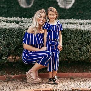 Ins maman et la correspondance familiale de bande de correspondance fille tenues de plage bretelles mère et fille Suspenders Jumpsuit