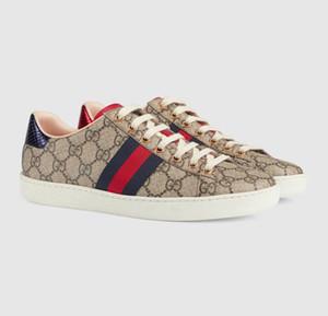 Gucci shoes Sapatos ACE Luxo bordados tigre branco sapatos abelha cobra couro genuíno da sapatilha dos homens das mulheres calçados casuais