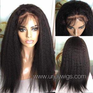 Celebrity Wig Lace Front Wigs Kinky Straight Natural Black 10A Malasia Virgin Remy Cabello humano Pelucas de encaje completo para mujer negra Envío gratis