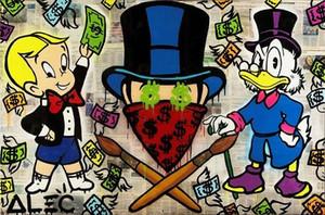 Pintado a mano HD Print Alec Monopoly Graffiti de dibujos animados Arte urbano Pintura al óleo sobre lienzo, Tamaños múltiples / Opciones de marco g273