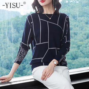 Yisu Moda Kadınlar Geometri Baskı Triko Uzun Kollu Süveter Triko Sonbahar kış Kazaklar kaliteli sweatersMX190928 Örme