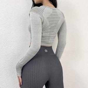 Wmuncc senza saldatura camicia palestra donne Autunno Inverno a manica lunga con il pollice Yoga Top ALLENAMENTO Abbigliamento sportivo Hollow design