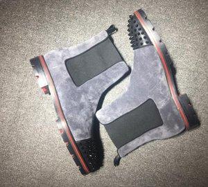 Горячие продажи-красный Низ Melon Boots Black телячьей Rubber Lug Подошва мужская мода Booty Famous венчания партии