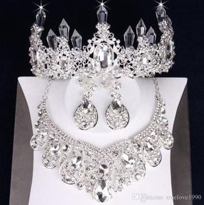 Charming Silver Jewelry 3 Pieces Suits Necklace Earrings Tiaras Crowns Bridal Jewelry Sets Bridal Accessories Wedding Jewelry