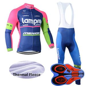 새로운 팀 lampre 겨울 사이클링 저지 세트 남성 긴 소매 열 양털 야외 도로 자전거 유니폼 MTB 자전거 의류 Y092612