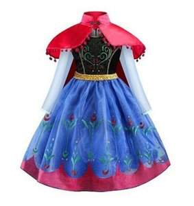 Girls Cosplay Dresses Cartoon Party Stage Show Cloak Dress Yestidos Kids Girls Princess Velet Costume 2-8T