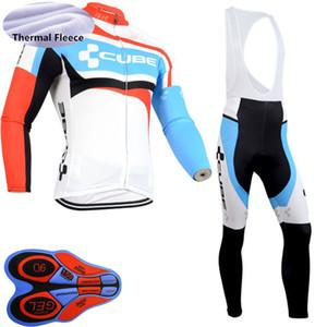 바지 턱받이 고품질의 남성 CUBE 팀 사이클링 열 양털 긴 소매 저지 MTB 자전거 의상 따뜻한 도로 자전거 유니폼 Y20052707 설정