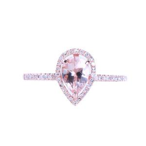 HELON Sólido 10 K Rose Gold 7x5mm Pear Prong garras Afiadas 0.514ct Rosa Morganite Anel De Noivado De Diamante Jóias de Prata Esterlina 0.18t S18101002