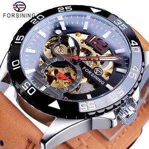 Forsining 2019 Hot Sale Relógio Mecânico masculino criativa automática Meio Cor Brown cinto de couro Relógios Casal Relógio Masculino