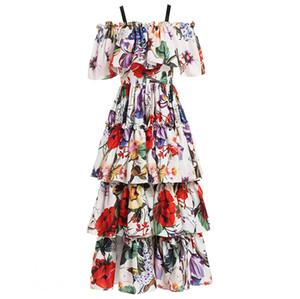 A Line 2019 Fashion Runway Casual Summer Dress Summer Long Dress manica corta da donna scollo tondo Tiered Floral stampato drappeggi volant Dress