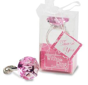 """HEISSER Verkauf 50pcs / mit diesem Ring""""Verlobungsring Schlüsselanhänger 4-Farben-Neuheit-Riesen Hochzeit Diamant Keychain --- FP1003 gesetzt"""