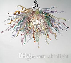 Стиль Art Glass Люстра Light Светодиодные лампы ручной выдувного муранского стекла Современная люстра для отеля Decor