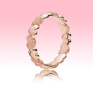 NEW Matte Brilliance Heart Band Ring 18K Rose gold plated Women Wedding Love Ring for Pandora Real 925 silver Rings with Original box