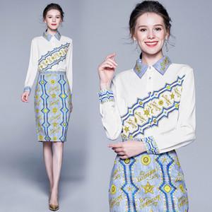 Luxury Series 2 Piece Set Делопроизводство Wear Light Blue Print юбка с длинным рукавом белые рубашки женщин Элегантный Формальное платье партии 3422