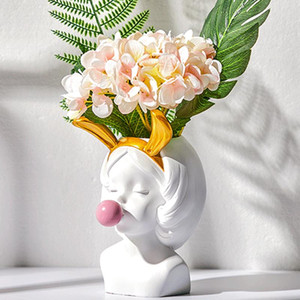 Creative Nordic Resin Human Head Golden Vase Cute Catwoman Bubble Gum Home Living Room Flower Arrangement Accessories Decoration