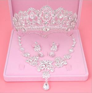 Womens Crystal Pearl Jewelry Hair Crown Headpiece Collar Colgante Pendientes Conjuntos