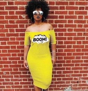 Robes Mode BOOM Lettre Imprimé Slash Long Neck Casual Robes Femmes Vestidoes Vêtements Couleur Jaune Femmes