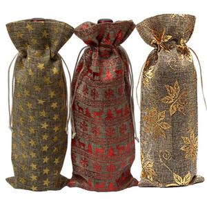 Décoration de Noël sacs à vin Bouteille de vin Couverture Anti-poussière Linen Champagne Drawstring Pouches Party Gift Wrap Table de mariage Décor