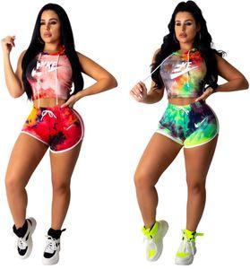 Frauen-Sommer-2pcs Sets Outfits mit Kapuze Tanks Tops + Shorts Sport Anzug Ärmel Hoodies + kurze Hosen Anzug Abbindebatik Kleidung DHL-freien 963