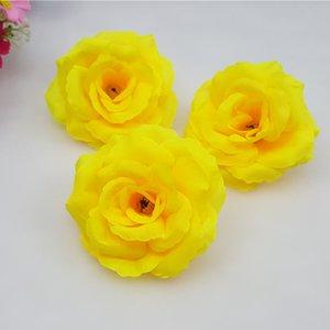 Can Mix Color 10PCS Lot 8CM Yellow Artificial Rose Silk Flower Heads DIY Wedding Home Decoration Festive Party Supplies 17colors