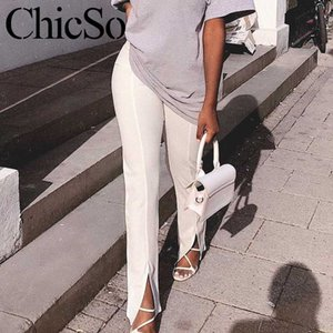 MissyChilli Knit skinny long pencil pants & Split Women elegant black white female trousers Winter sexy office ladies soft pants