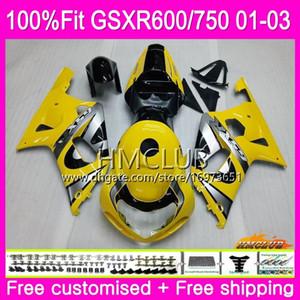 Injection Pour SUZUKI GSXR 600 750 GSX-R750 GSXR600 01 02 03 4HM.81 GSX R600 GSX R750 K1 GSXR-600 GSXR750 2001 2002 2003 Carénage Jaune clair