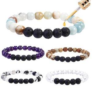 Vente chaude volcanique Bracelets Pierre Chakra Yoga volcanique Pierre 8 mm Perles rondes en pierre naturelle Bracelets pour fanshion Hommes Femmes 6 Styles