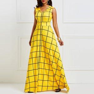 Kinikiss 2019 vestido de verano de las mujeres sin mangas a cuadros twilled satinado vestido de fiesta amarillo elegante bolsillo con solapa muesca vestido azul largo Y190507
