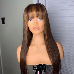 Glueless Highlight 13x6 Lace Front Human Hair Wigs with Baby Hair Peruvian Full Lace with Bangs for Black Women Natural Hairline