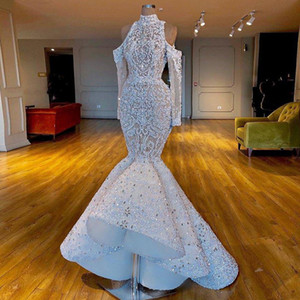 고급스러운 인어 놀라운 2019 아프리카 두바이 WeddingDresses 높은 목 페르시 크리스탈 신부 드레스 긴 소매 웨딩 드레스