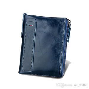 RFID BLOCCA nuove donne alla moda portafogli e portamonete cuoio della mucca maschio borsa Bifold Con la tasca di carta RFID di protezione