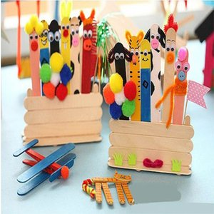50 Pieces Color Wood Popsicle Sticks Wooden Ice Cream Sticks DIY Manual Crafts Art Ice Cream Lolly Cake Art Tools Toys for Kids