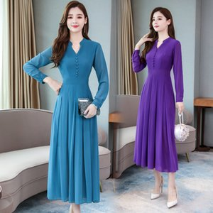 2019 autumn new slimming long section collar long-sleeved chiffon solid color pullover dress female, support mixed batch